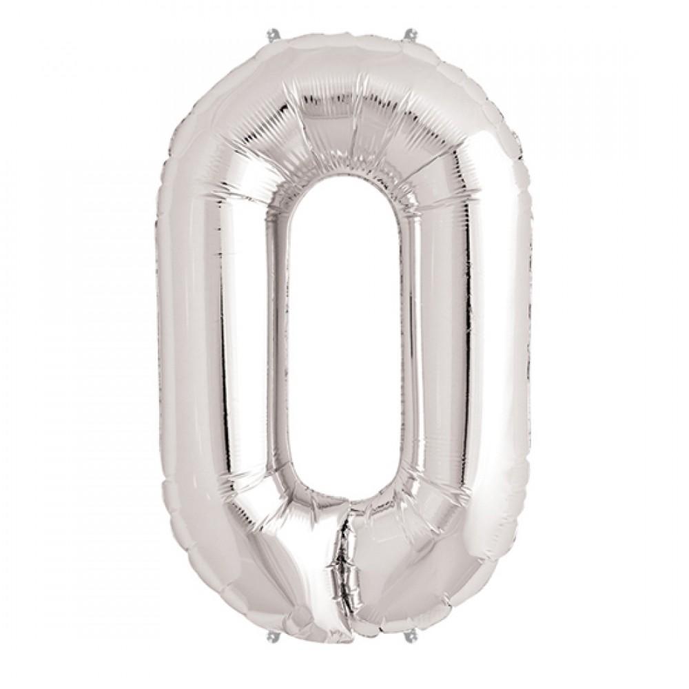 0 Rakam Folyo Balon Gümüş  40 inç