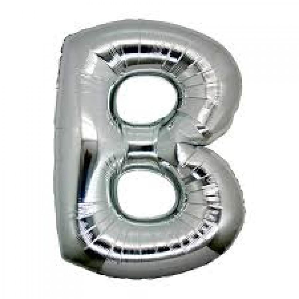 B Harf Folyo Balon Gümüş Renk  40 inç