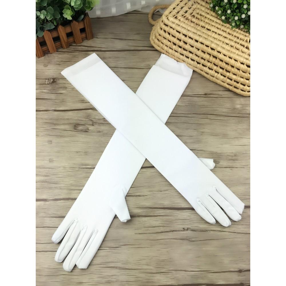 Beyaz Renk Dirseğe Kadar Uzun Kumaş Eldiven