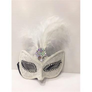Beyaz Tüylü Yılbaşı Maskesi Karışık 12 Adet
