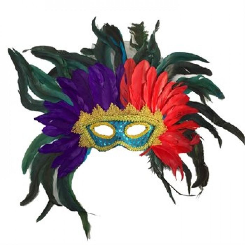 Bol Tüylü Lüks Venedik Maskesi Mor Renk