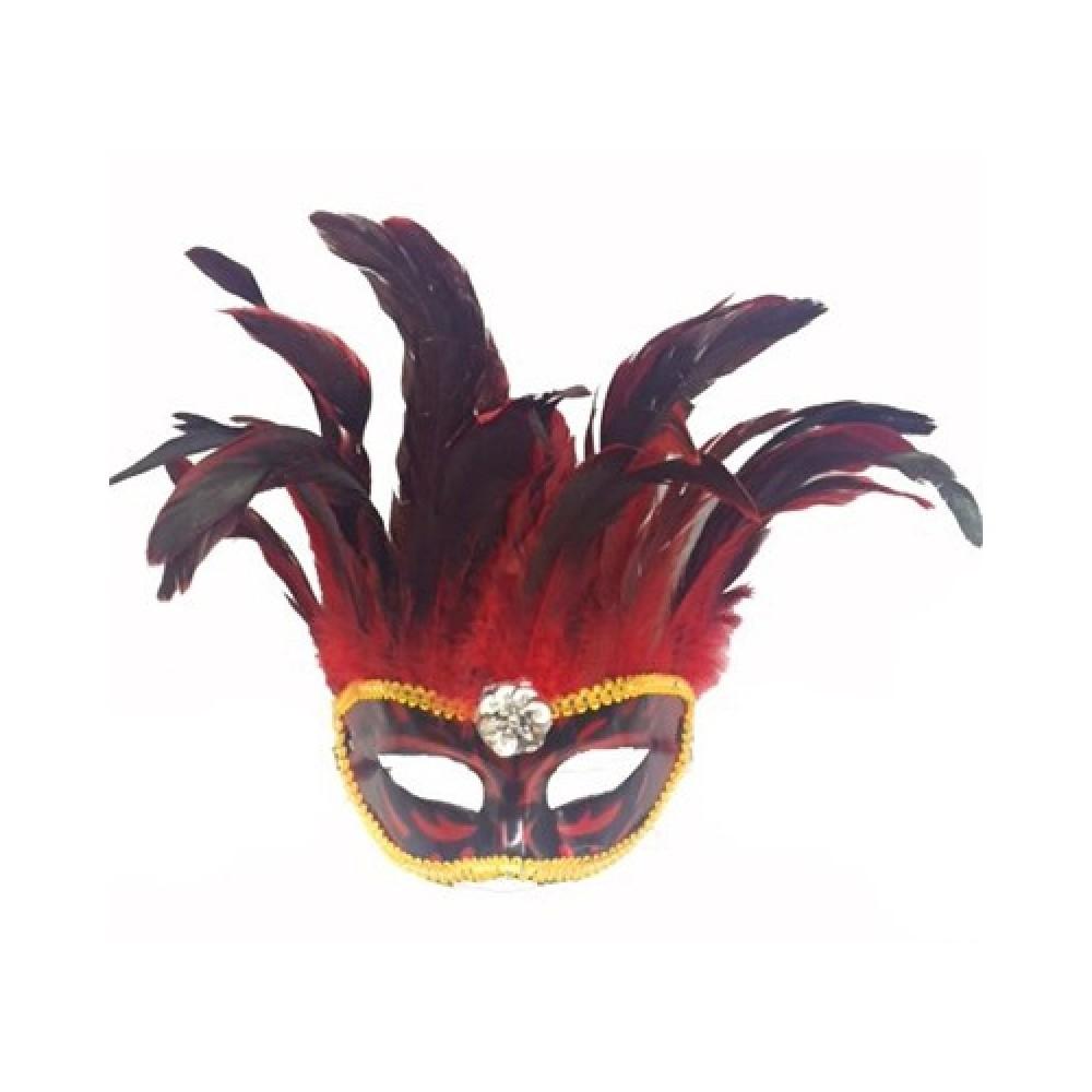 Bol Tüylü Parti Maskesi Kırmızı Renk