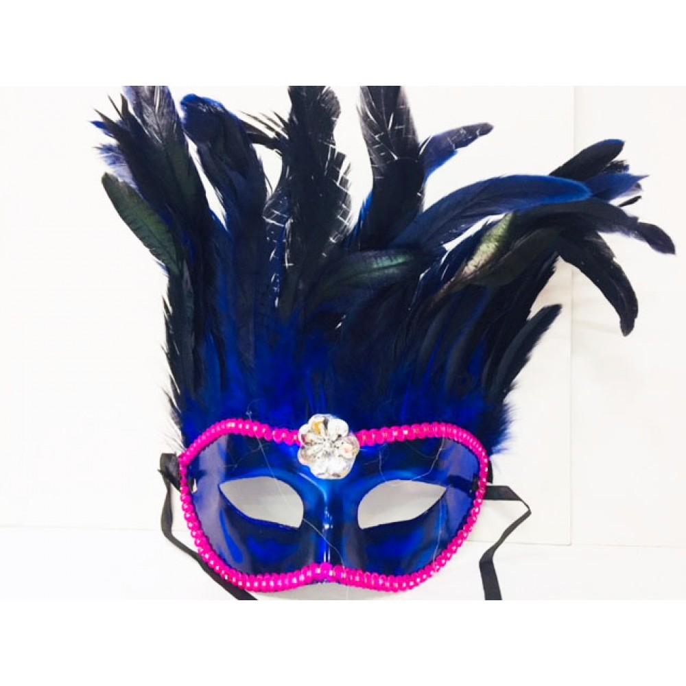 Bol Tüylü Parti Maskesi Mavi Renk