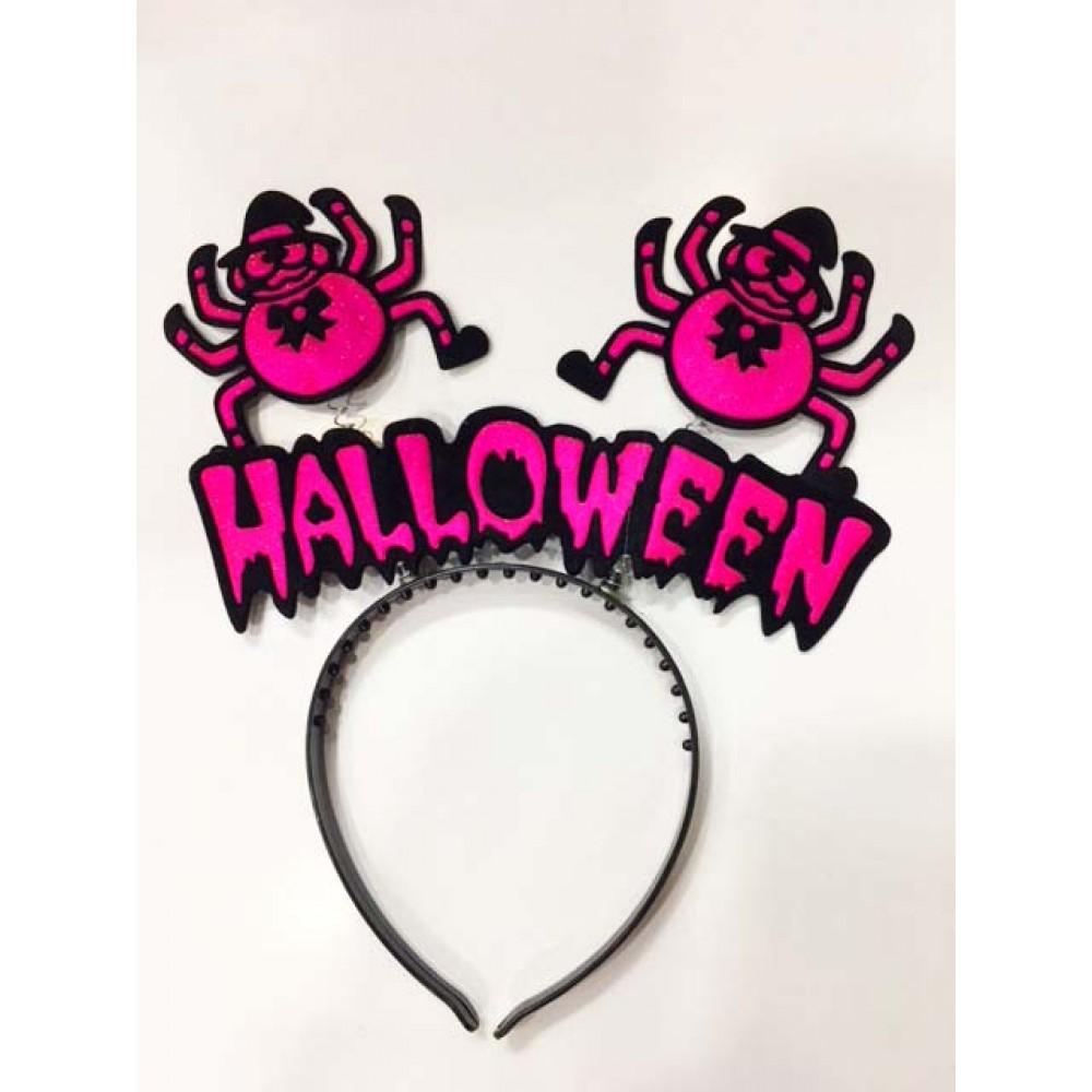 Cadılar Bayramı Halloween Örümcekli Taç Pembe