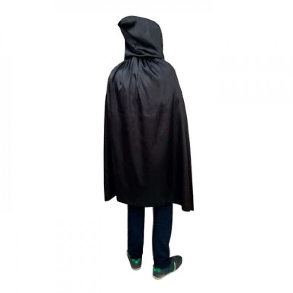 Cadılar Bayramı Kapşonlu Pelerin Siyah 90 cm