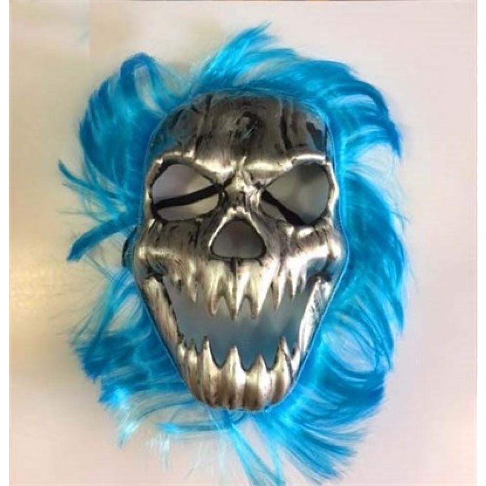 Cadılar Bayramı Kurukafa Maskesi Mavi Saçlı