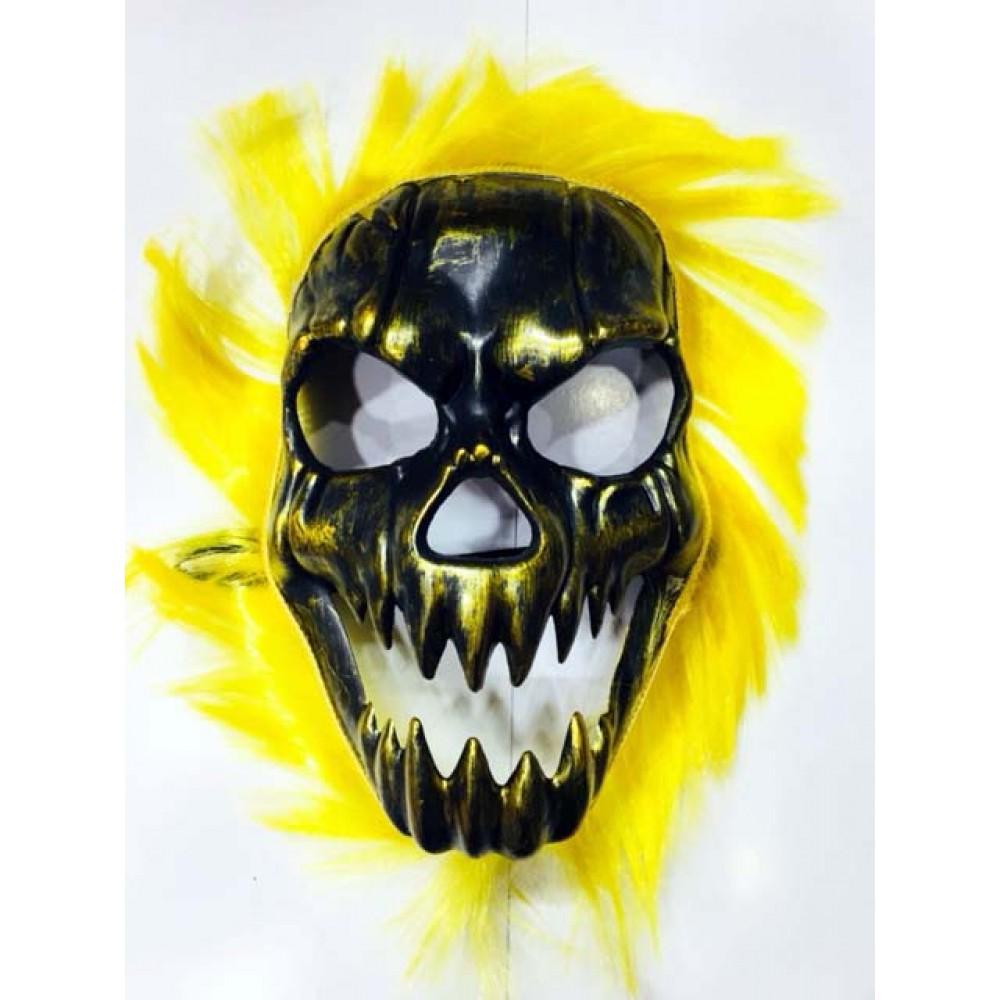 Cadılar Bayramı Kurukafa Maskesi Sarı Saçlı