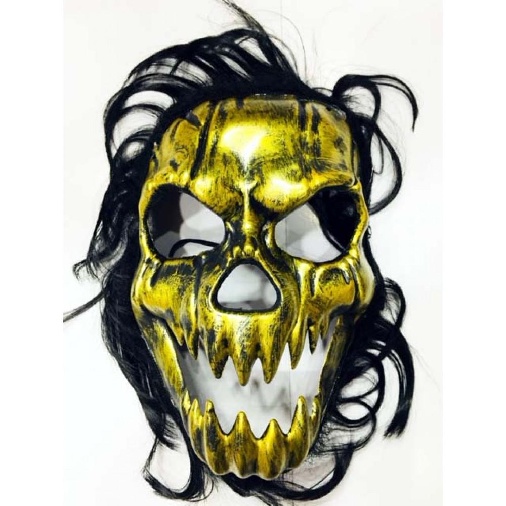 Cadılar Bayramı Kurukafa Maskesi Siyah Saçlı