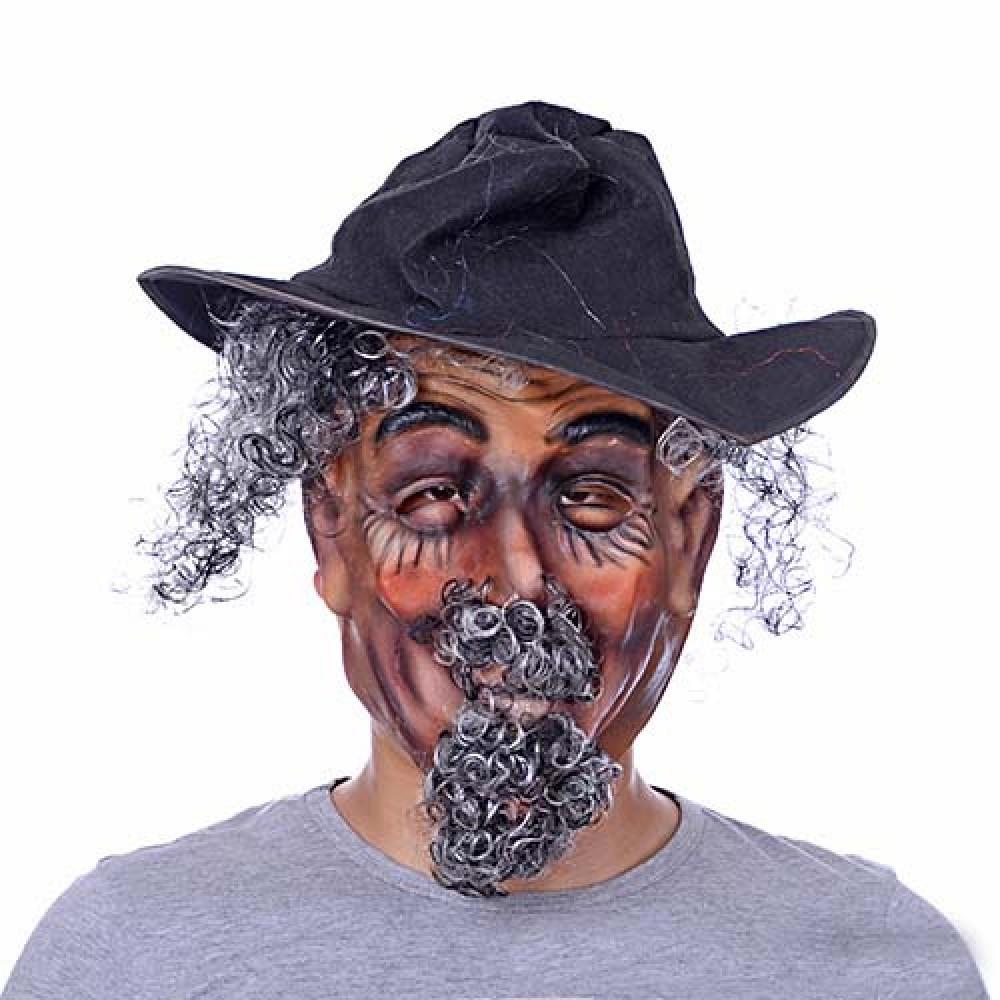 Cadılar Bayramı Lateks Saçlı Şapkalı Maske