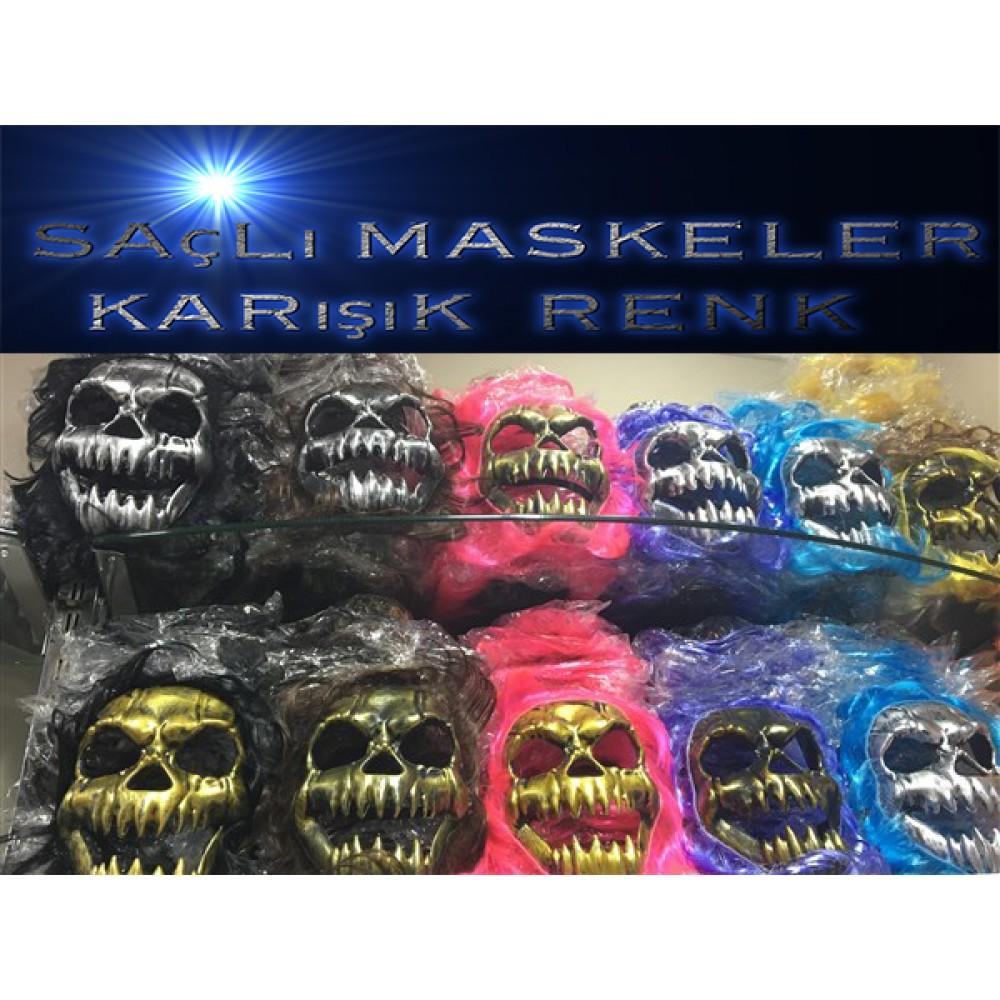 Cadılar Bayramı saçlı Kurukafa Maskeler karışık renk