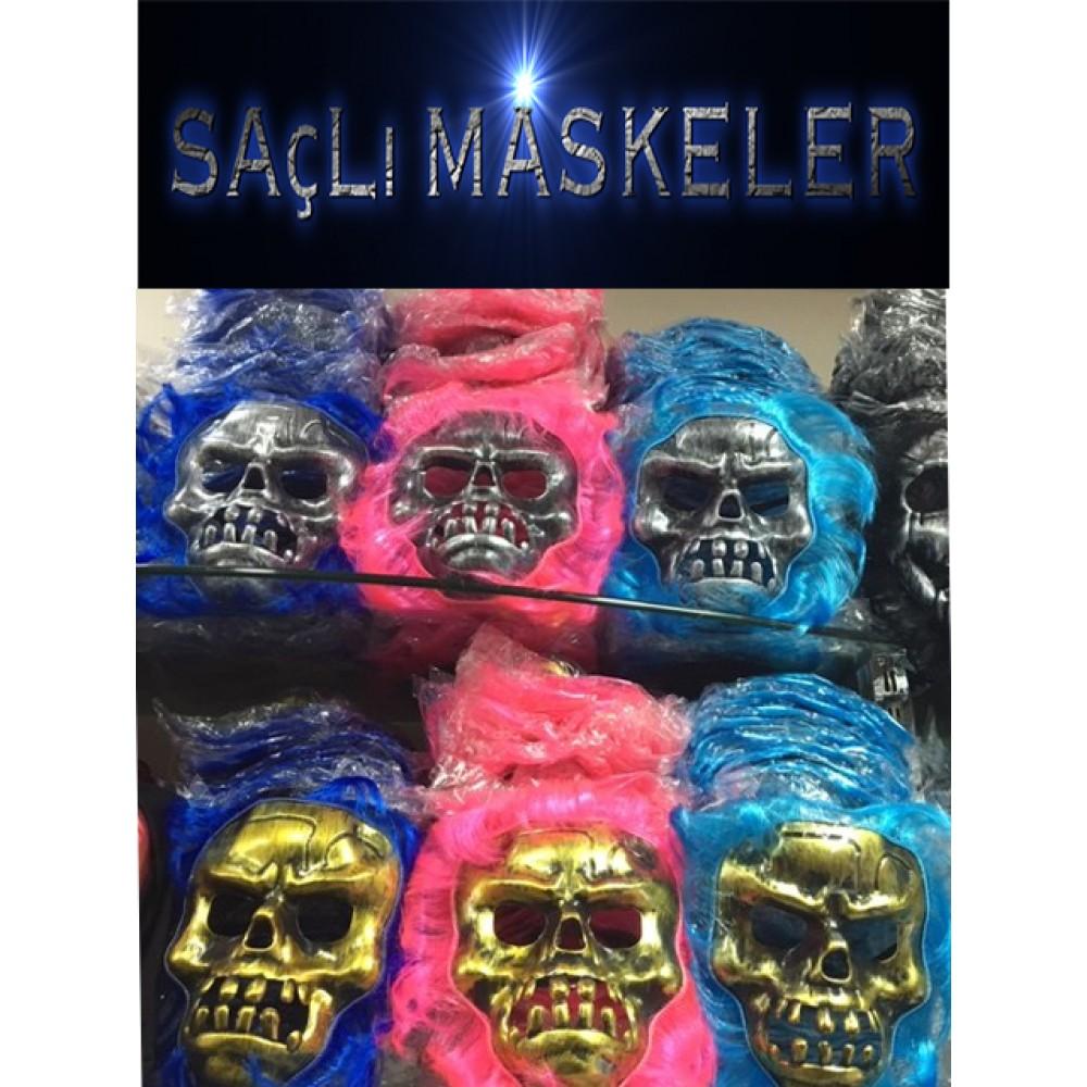 Cadılar Bayramı saçlı kuru kafa maskeler 3 renk