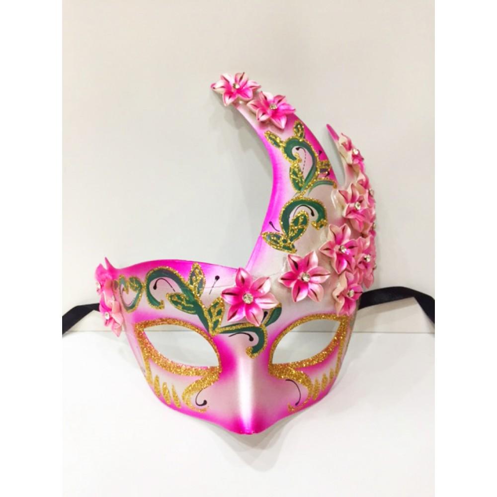 Çiçekli Harem Maskesi Pembe Renk