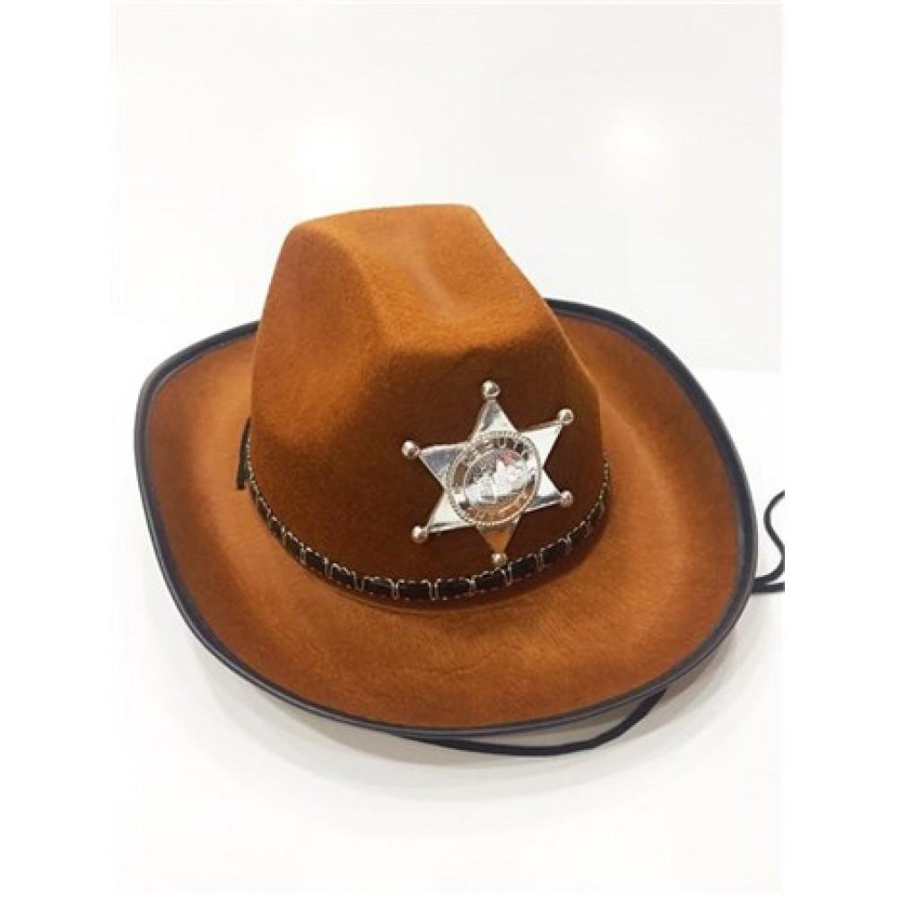 Çocuk Kovboy Şapkası Sheriff Şapkası Kahverengi
