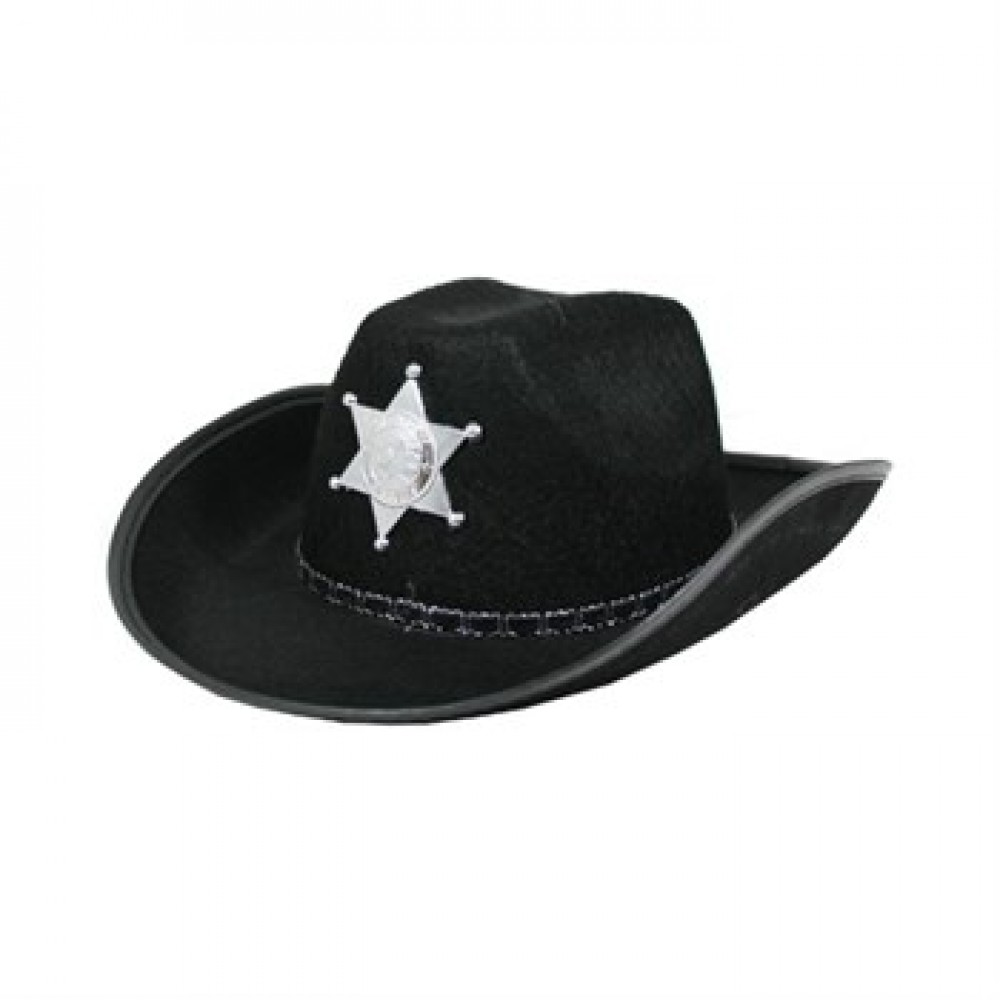 Çocuk Kovboy Şapkası Sheriff Şapkası Siyah Renk