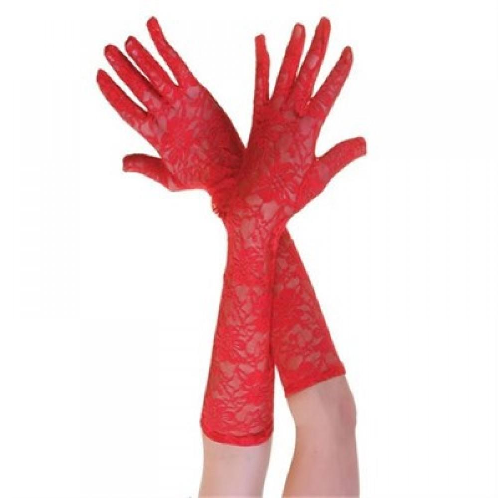 Dantelli Eldiven Kırmızı Renk
