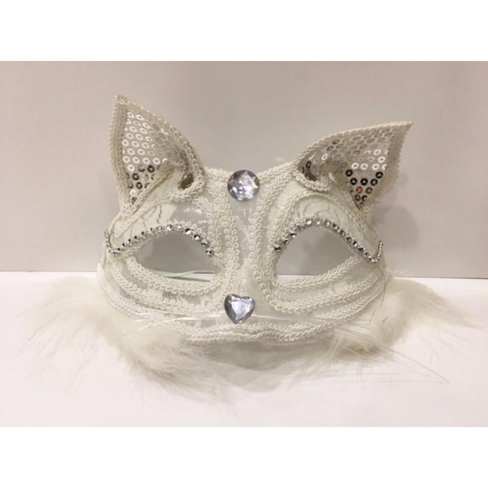 Dantelli Kedi Maskesi Beyaz Renk
