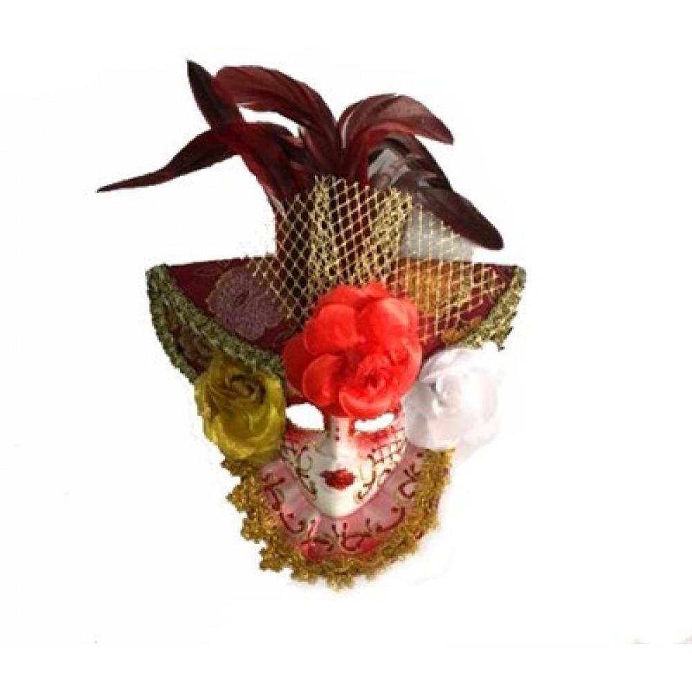 Güllü Dekoratif Seramik Maske Kırmızı Renk