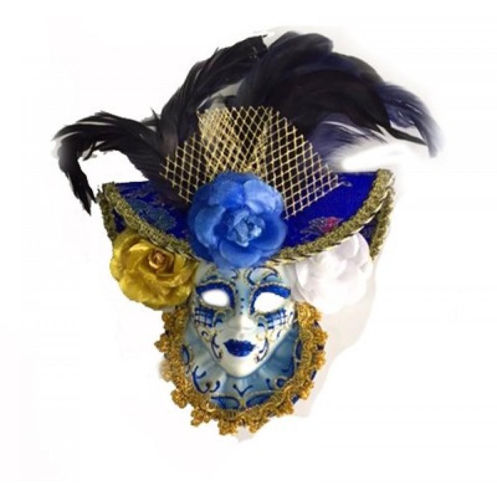 Güllü Dekoratif Seramik Maske Mavi Renk