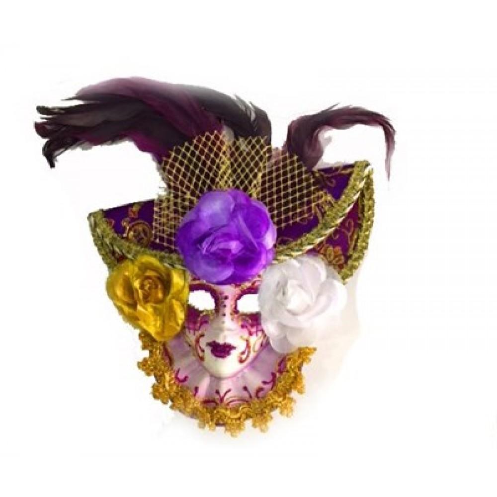 Güllü Dekoratif Seramik Maske Mor Renk