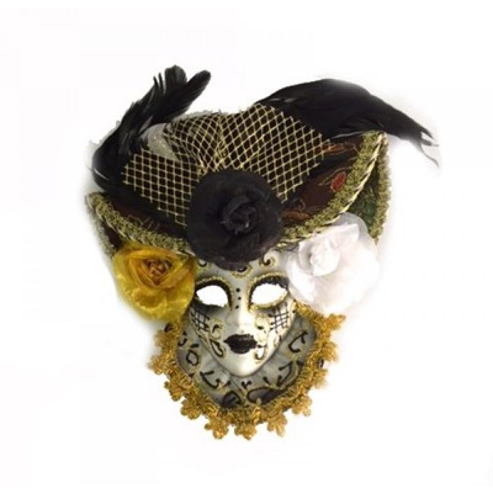 Güllü Dekoratif Seramik Maske Siyah Renk
