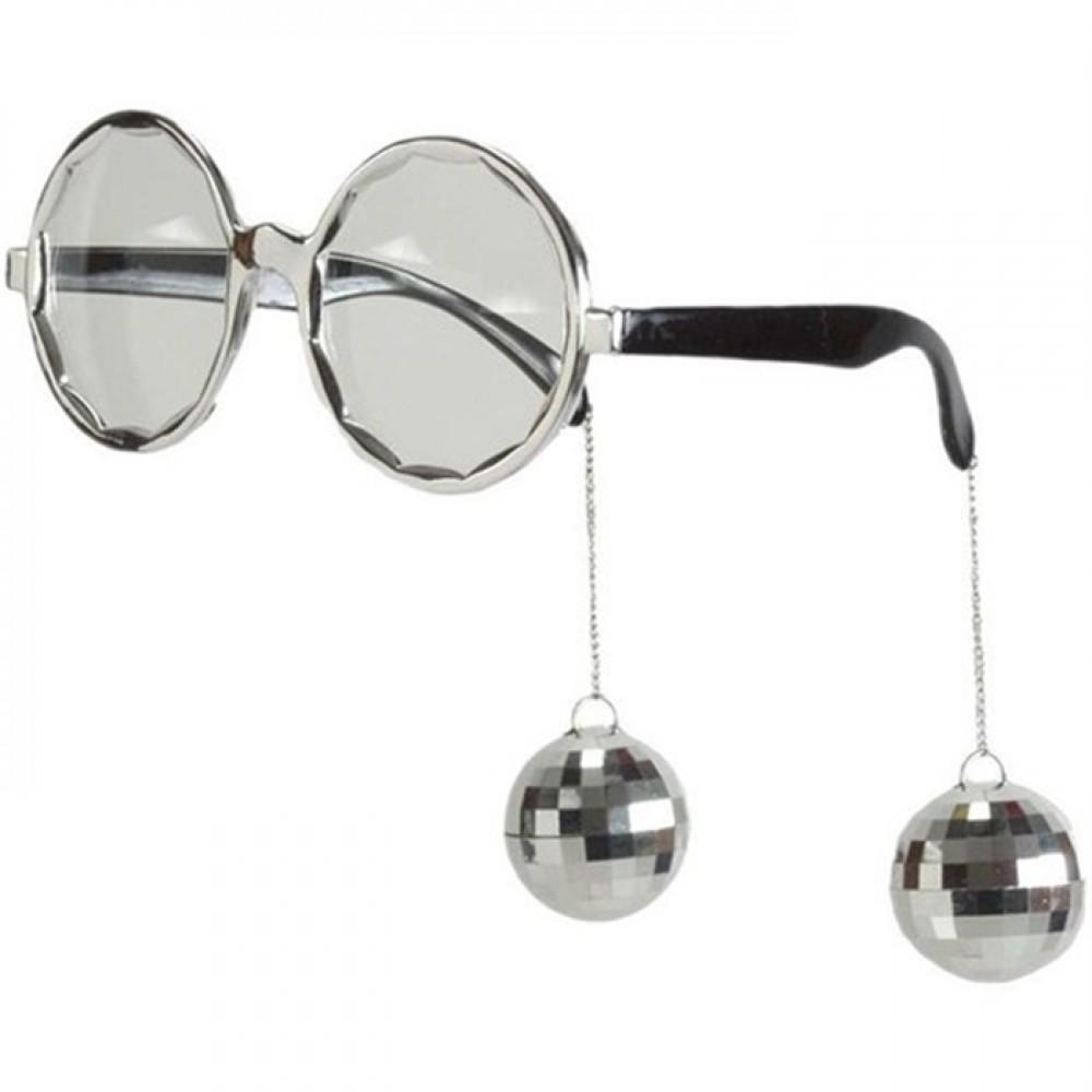 Gümüş Disko Küpeli Parti Gözlük