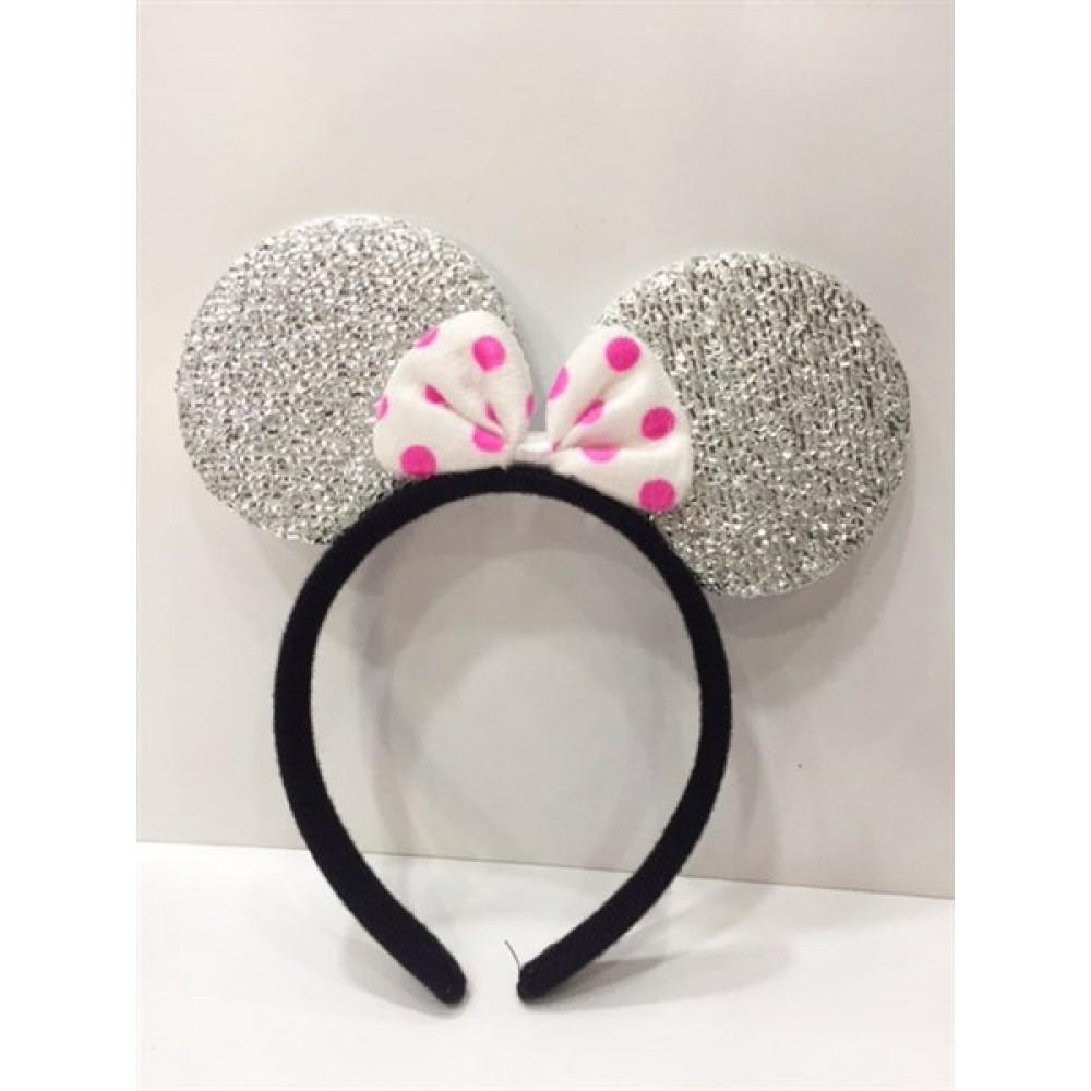 Gümüş Minnie Mouse Tacı Simli