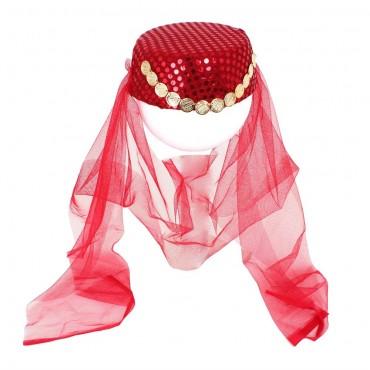 Kına Fesi Kına Şapkası Kırmızı Pullu