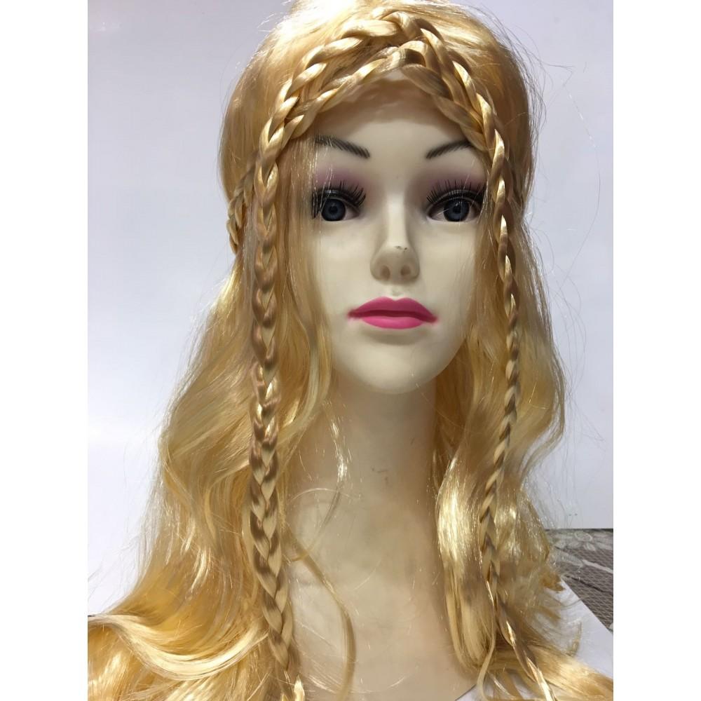 Örgülü Gold Renk Peruk Uzun Saç