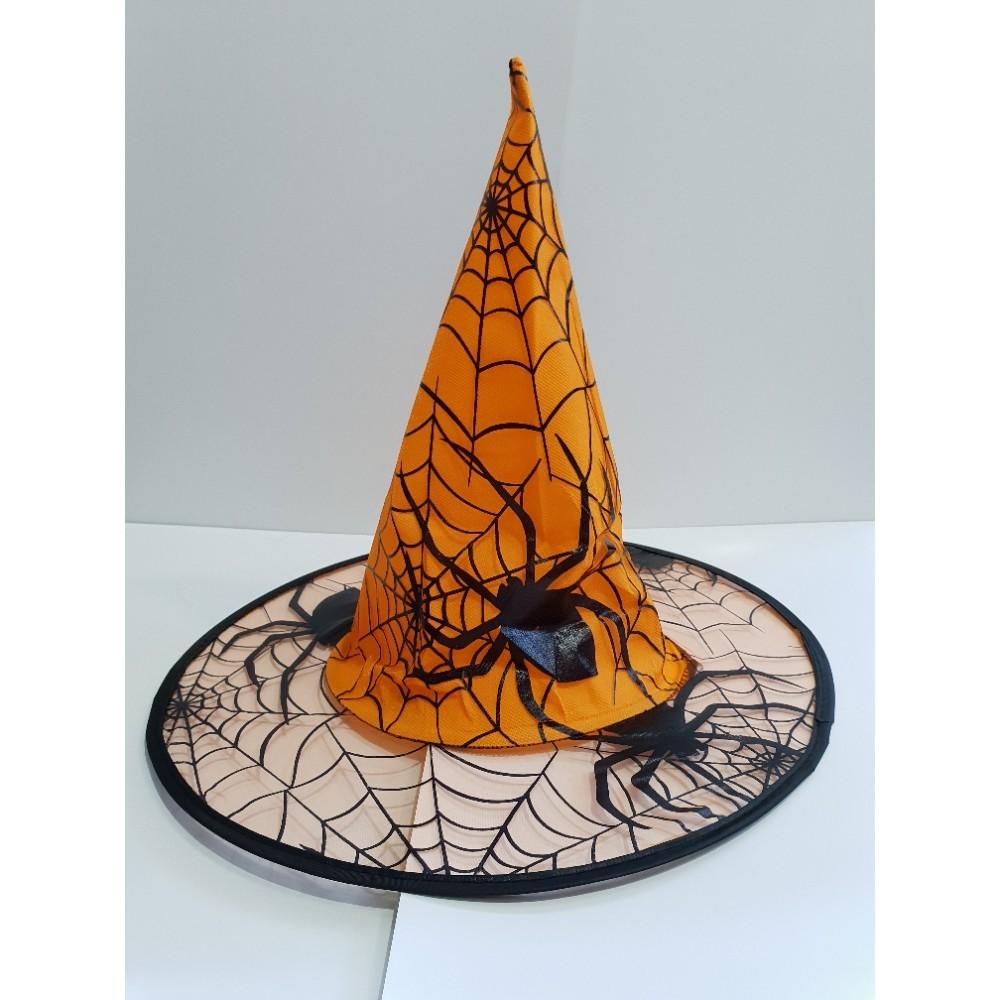 Örümcek Desenli Cadı Şapkası turuncu