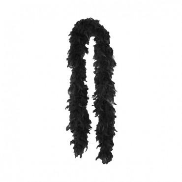 Siyah Renk Tüylü Otriş Tüy Boa Kalın