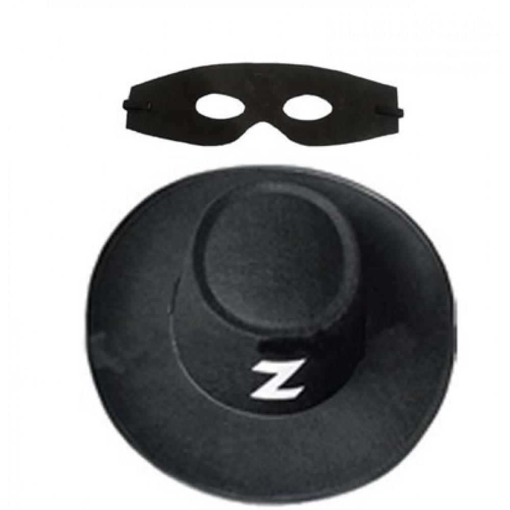 Zorro Şapka Maske Set Yetişkin