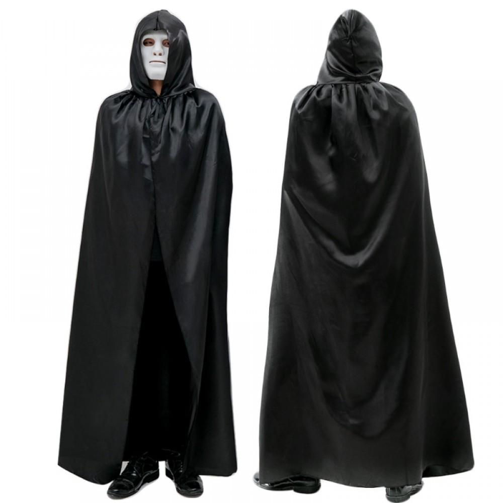cadılar bayramı kapşonlu pelerin siyah 140x140