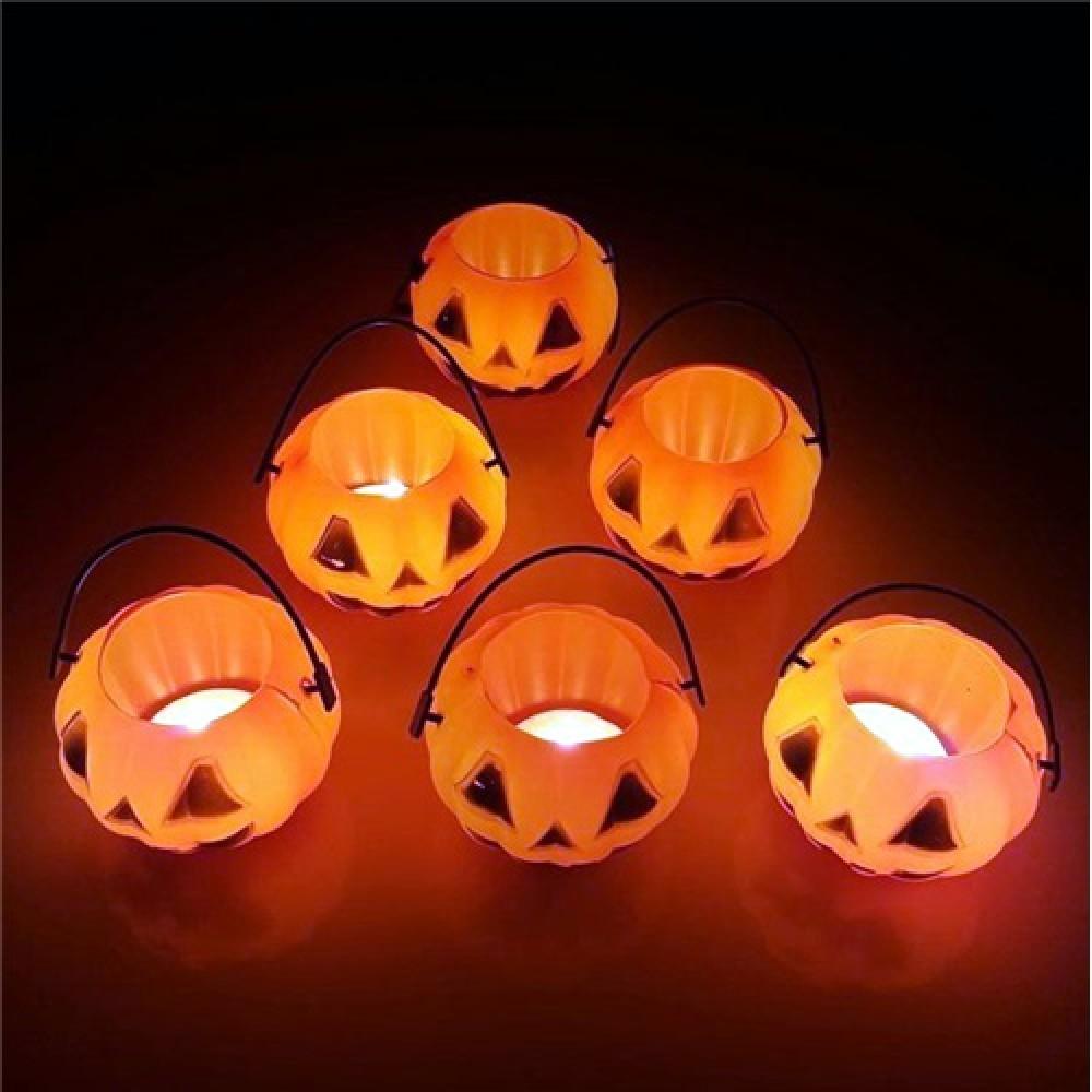 Cadılar Bayramı Halloween 6 lı Tealight Mumluk Balkabağı