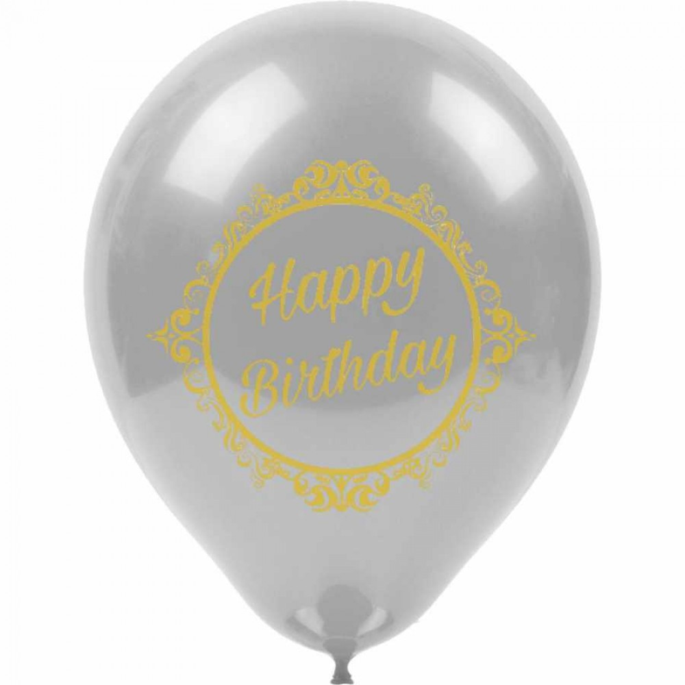 Altın Happy Birthday Baskılı Gümüş Balon 100\'lü