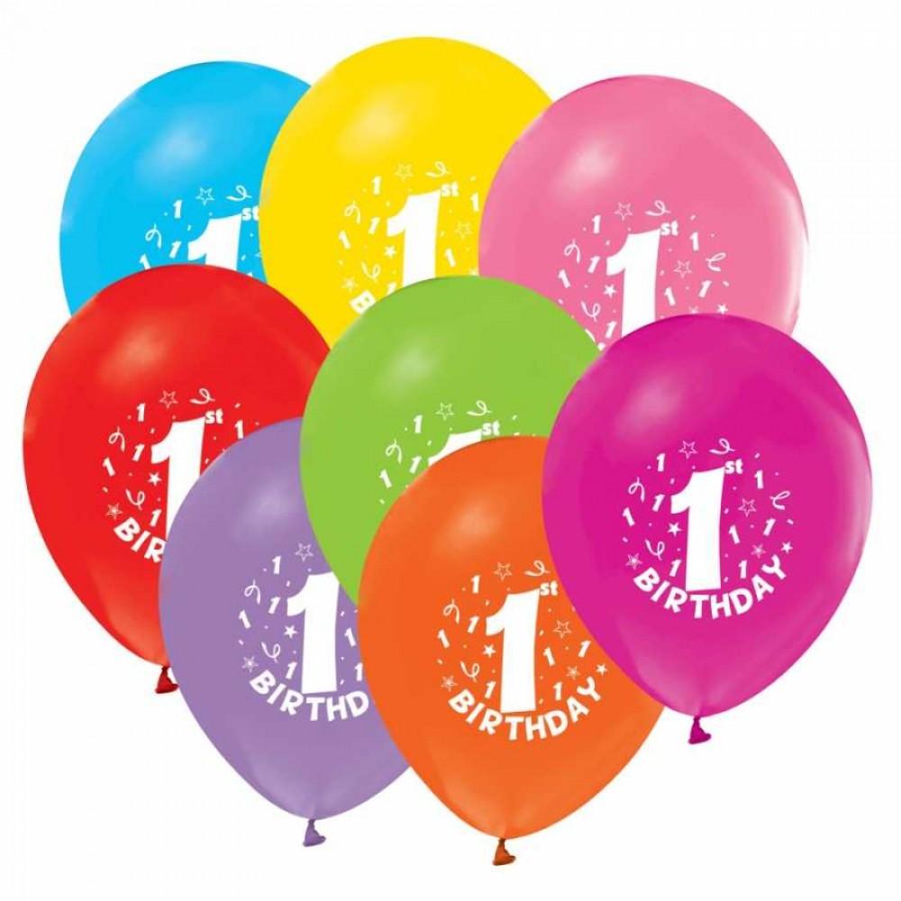 1 Yaş Happy Birthday Baskılı Karışık Renk Balon 100\'lü