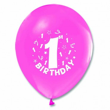 1 Yaş Happy Birthday Baskılı Pembe Balon 100\'lü