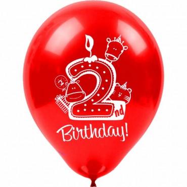 2 Yaş Happy Birthday Baskılı Karışık Renk Balon 100\'lü