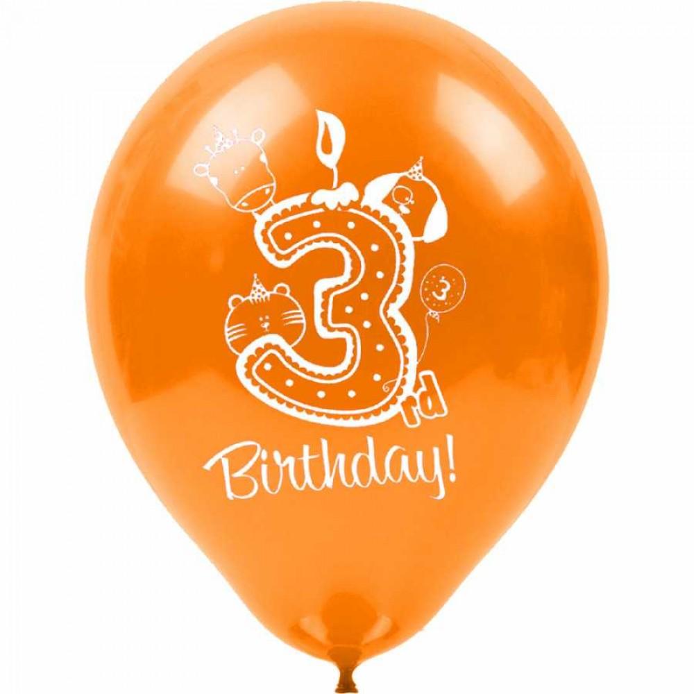 3 Yaş Happy Birthday Baskılı Karışık Renk Balon 100\'lü