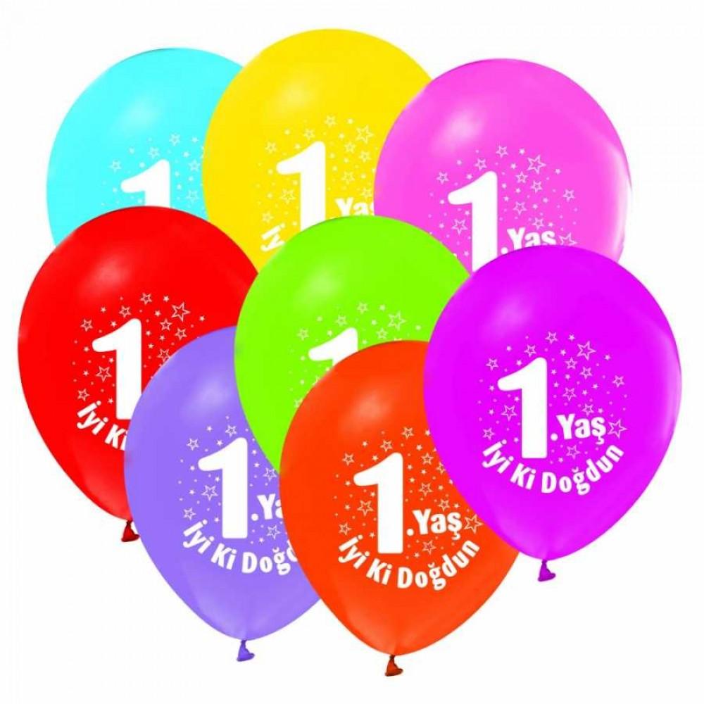 1 Yaş İyi ki Doğdun Baskılı Karışık Renk Balon 100\'lü