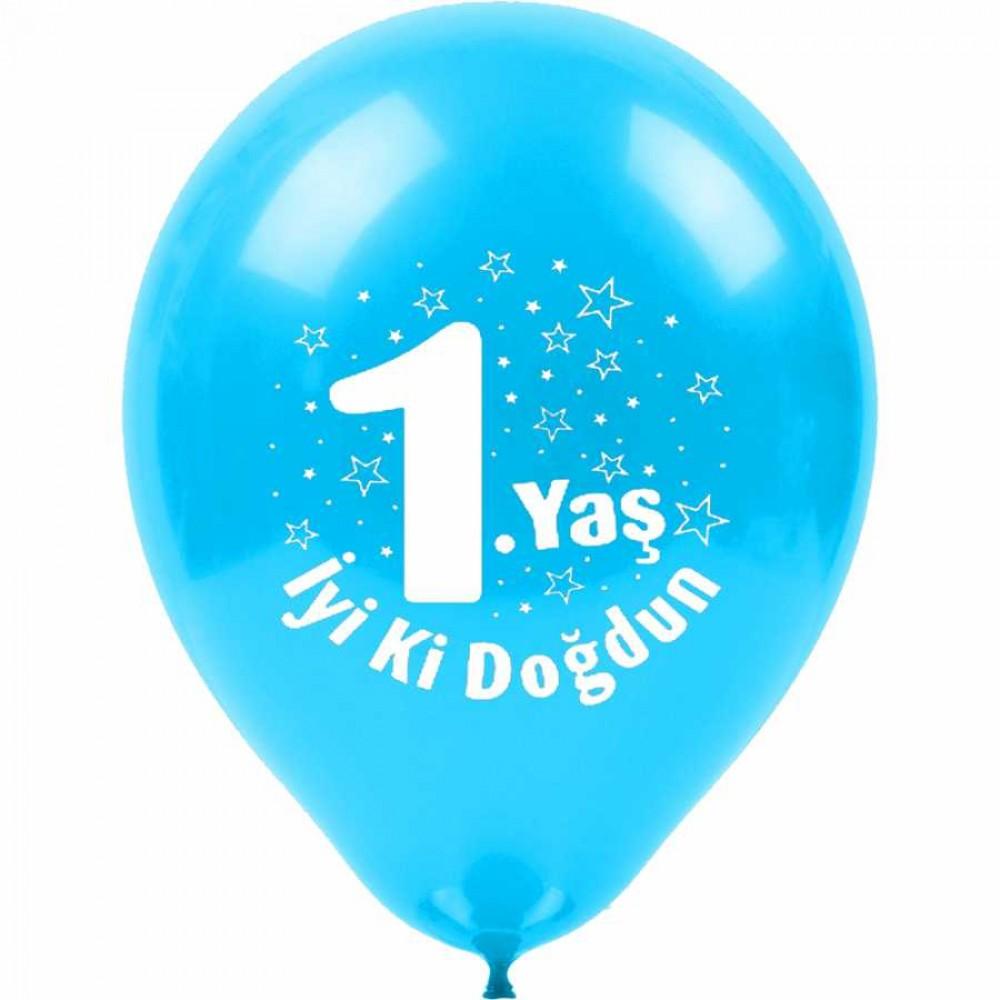 1 Yaş İyi ki Doğdun Baskılı Mavi Balon 100\'lü