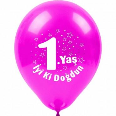 1 Yaş İyi ki Doğdun Baskılı Pembe Balon 100\'lü