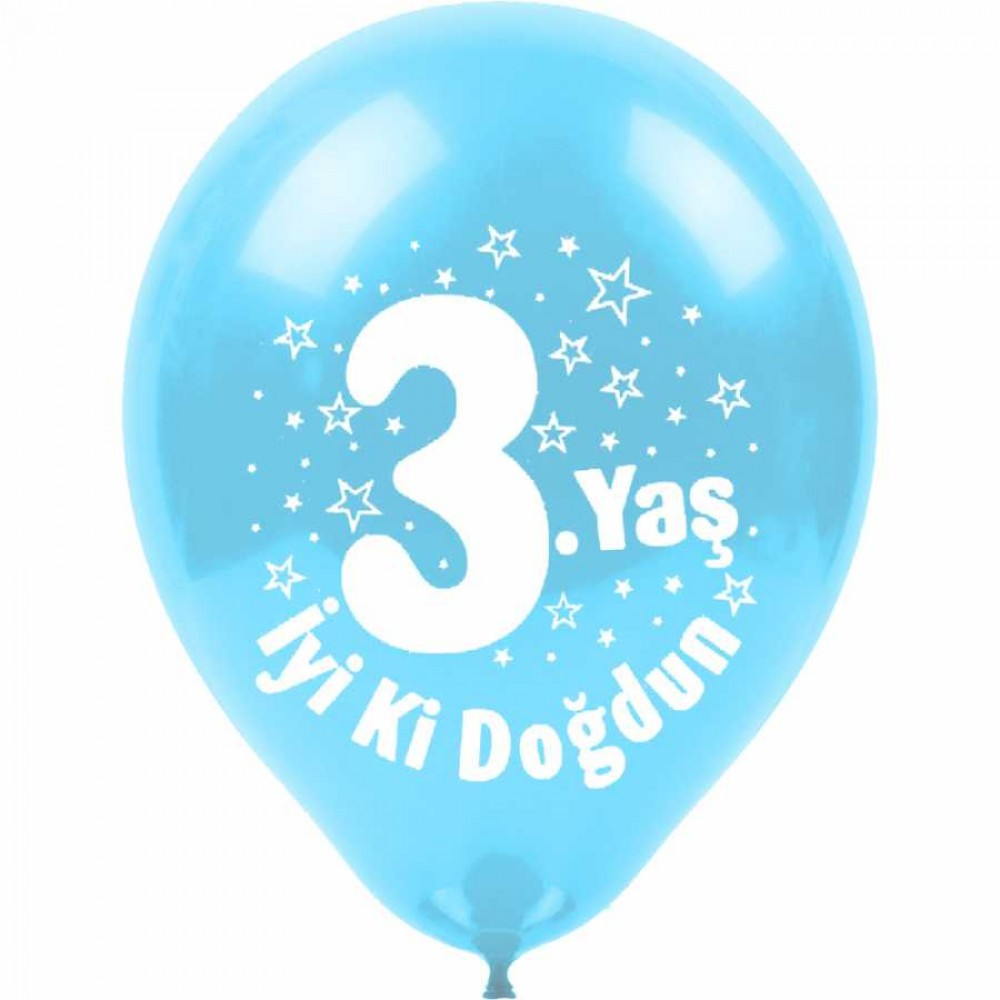 3 Yaş İyi ki Doğdun Baskılı Karışık Renk Balon 100\'lü