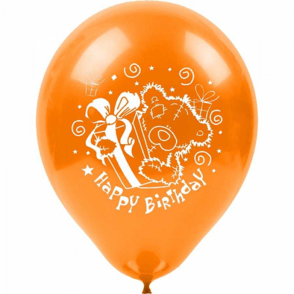 Ayıcıklı Happy Birthday Baskılı Karışık Renk Balon 100\'lü
