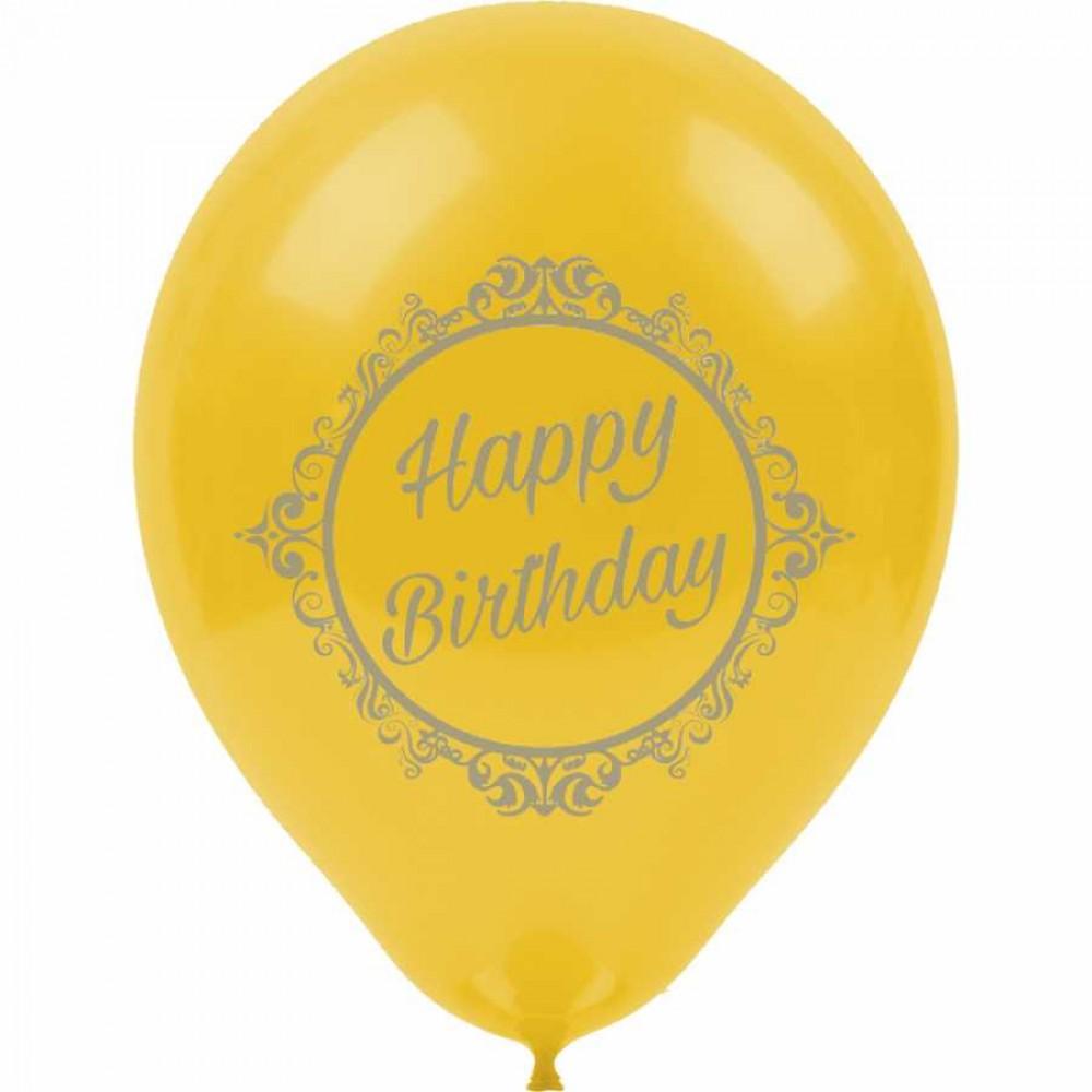 Gümüş Happy Birthday Basklı Altın Renk Balon 100\'lü