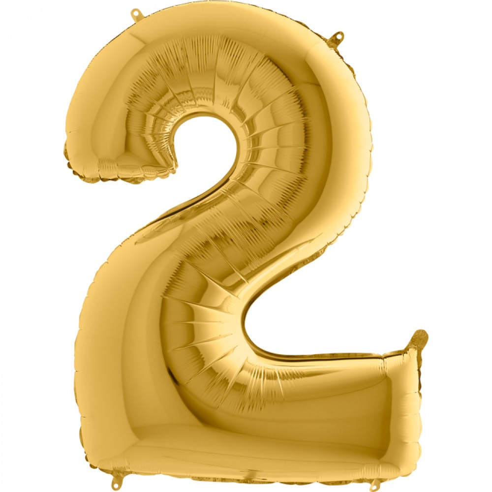 2 Rakam Grabo Altın Folyo Balon 102 cm
