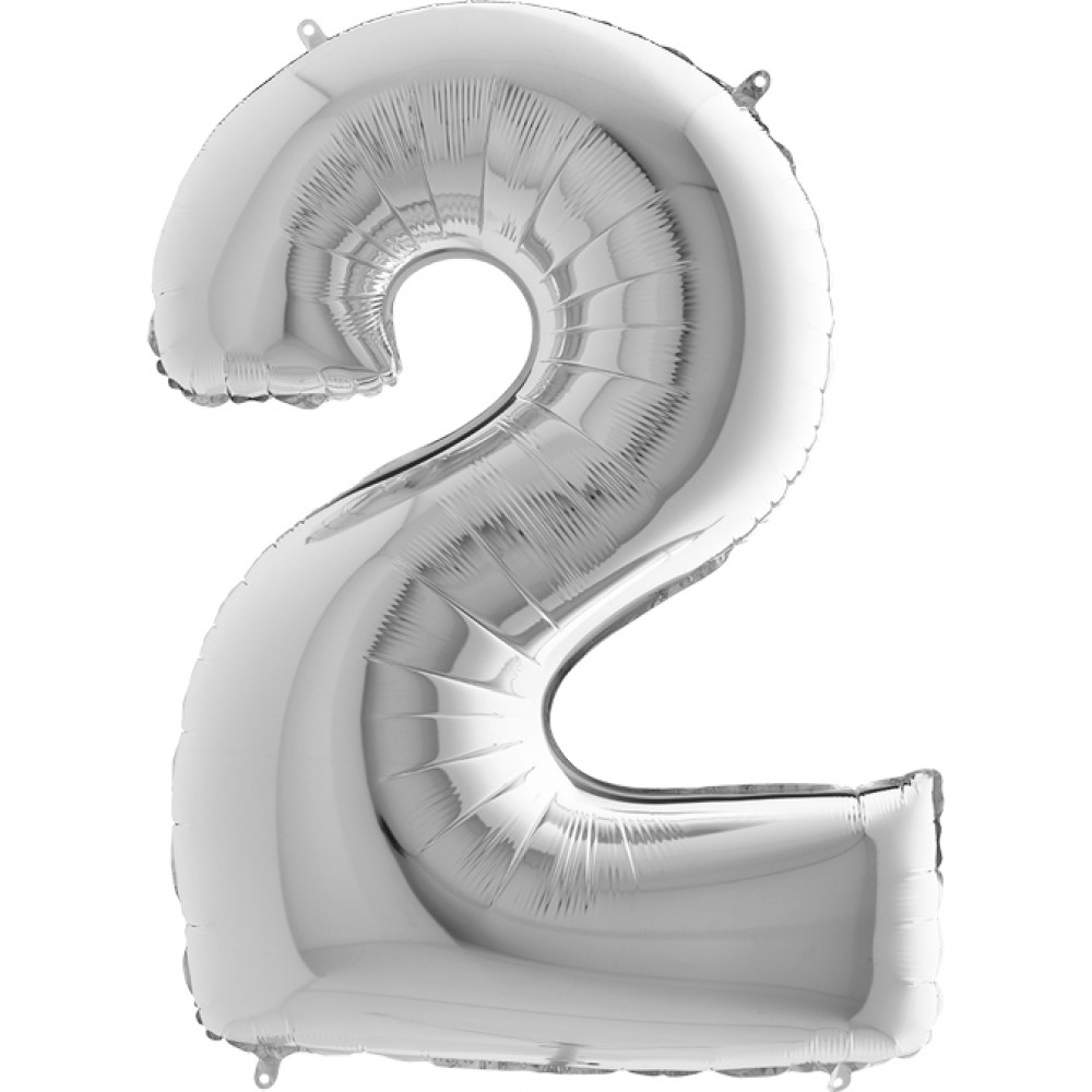 2 Rakam Grabo Gümüş Folyo Balon 102 cm
