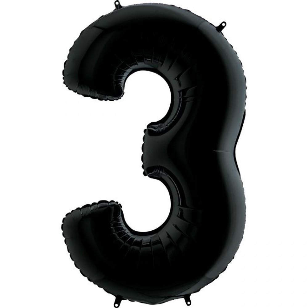 3 Rakam Grabo Siyah Folyo Balon 102 cm