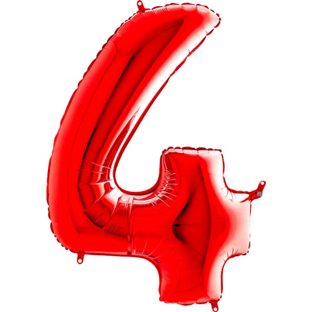 4 Rakam Grabo Kırmızı Folyo Balon 102 cm