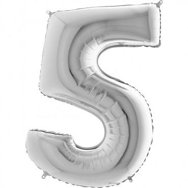 5 Rakam Grabo Gümüş Folyo Balon 102 cm