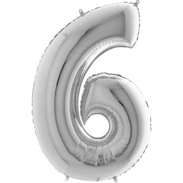 6 Rakam Grabo Gümüş Folyo Balon 102 cm
